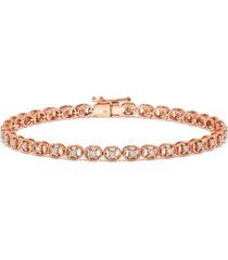 diamond rope-framed tennis bracelet (1 ct. t.w.) in 14k rose gold