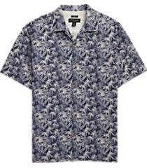 pronto uomo navy & white palm frond camp shirt