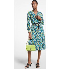 mk abito chemisier in georgette con stampa floreale - brt limeade - michael kors