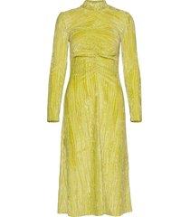 asher, 910 velvet devoré jurk knielengte geel stine goya