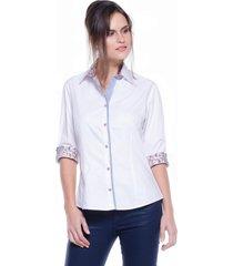 camisa intens manga 3/4 algodão poá branco