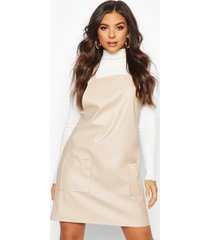 faux leather pinafore dress, stone