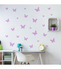 adesivo de parede borboletas em lilás 25un cobre 1,5m²