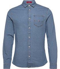 tjm stretch denim shirt overhemd casual blauw tommy jeans