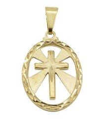 pingente tudo jóias cruz folheada a ouro 18k