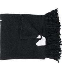 off-white intarsia logo knit scarf - black