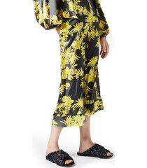 women's smythe print palazzo pants, size large - yellow
