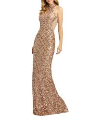 women's mac duggal mock neck sequin column gown, size 8 - metallic