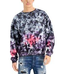 guess men's anslem tie-dyed fleece sweatshirt