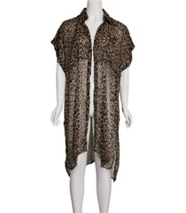 steve madden leopard trench poncho