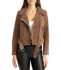 blanknyc suede moto jacket, size large in caramel macchiato at nordstrom