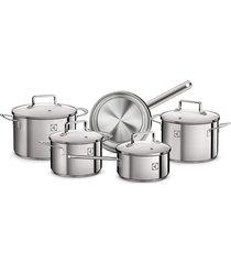 conjunto de panelas electrolux em aço inoxidável prata