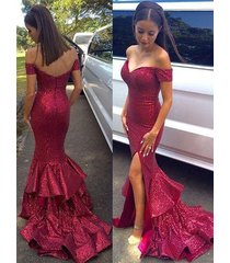 off the shoulder prom dress, sexy rose color evening dress, mermaid party dress