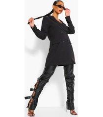 oversized long line blazer met dubbele knopen, black