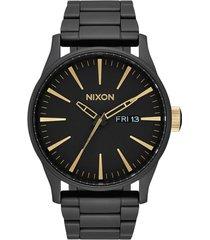 nixon 'the sentry' bracelet watch, 42mm in black at nordstrom