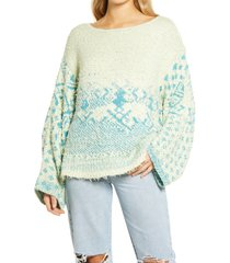 women's free people midnight beach rib off-the-shoulder sweater, size large - green