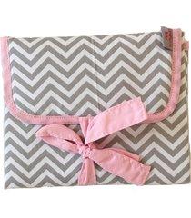 trocador portátil alan pierre baby sem bordado, tricoline 100% algodáo - chevron cinza com rosa - tricae