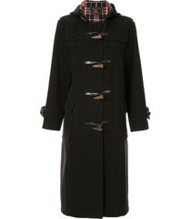 burberry pre-owned toggle-fastening coat - black