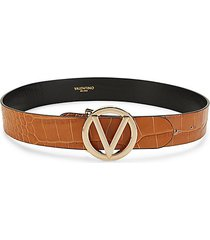 giusy croc-embossed leather logo belt