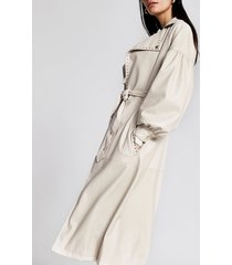 river island womens white faux leather studded belt trench coat
