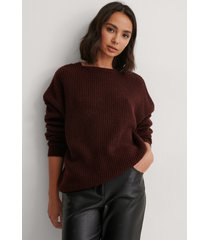 na-kd basic round neck knitted sweater - red