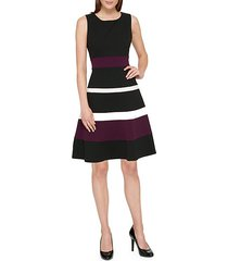 colorblock fit-&-flare dress