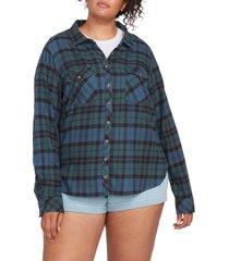 plus size women's volcom getting rad plaid top, size 16w - green