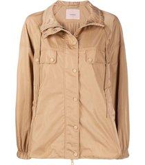 twin-set jaqueta com pregas posteriores - marrom