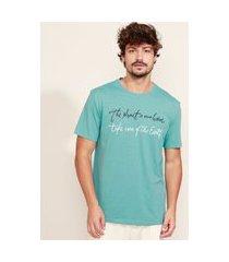 "camiseta masculina listrada ""the planet is our home"" manga curta gola careca verde"