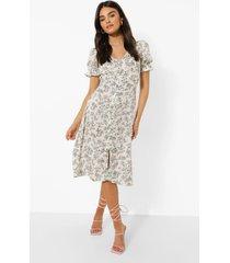 bloemenprint midi jurk met pofmouwen, cream