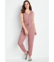 maurices womens 24/7 solid ribbed jumpsuit brown