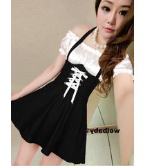 pf269 sexy 2in 1 neck halter dress, spell color, size s-l, white/black
