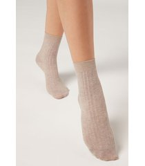 calzedonia short ribbed socks with cotton and cashmere woman nude size 36-38