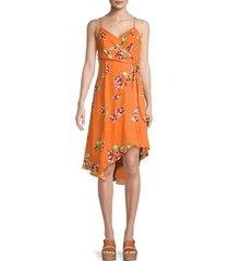 parker women's monroe floral wrap-effect dress - orange magenta - size 2