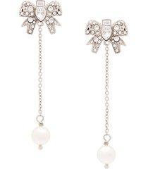 miu miu micro bow crystal pendant earrings - silver