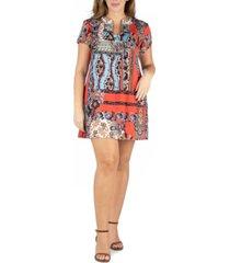 24seven comfort apparel women's plus size square neck short sleeve mini dress
