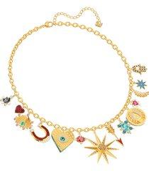 collar lucky goddess charms, multicolor, baño de oro