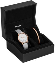 mvmt women's boulevard beverly marble light gray leather strap watch 38mm gift set