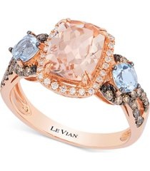 le vian chocolatier peach morganite (1-1/2 ct. t.w.), aquamarine (1/2 ct. t.w.) and diamond (1/3 ct. t.w.) ring in 14k rose gold
