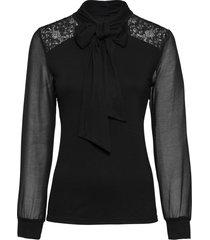 maglia a maniche lunghe con fiocco e pizzo (nero) - bodyflirt
