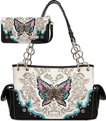 cowgirl trendy butterfly laser cut carry concealed handbag and wallet-black