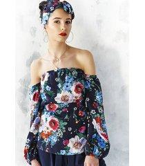 bluzka w malowane kwiaty