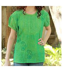 cotton blouse, 'feminine lime' (india)