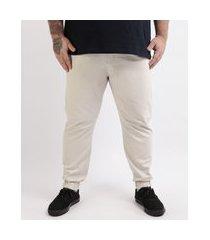 calça de sarja masculina plus size slim jogger bege