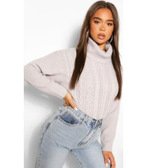 cable knit roll neck sweater, silver grey