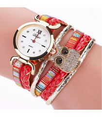 orologio da polso al quarzo con cinturino in pelle intrecciata con cinturino in multistrato