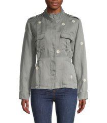 rails women's sahara daisey-print safari jacket - sage daisy - size m