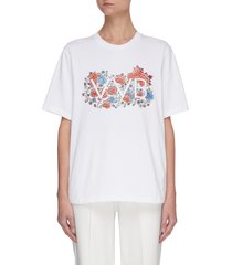 embroidered logo floral graphic t-shirt