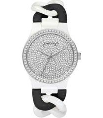 kendall + kylie women's trendy black and white braid chain ceramic band bracelet watch