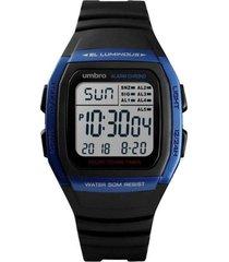 relógio pulso digital umbro masculino borracha water resist preto